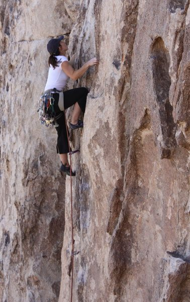 Unknown climber on Mr. Misty Kiss (5.7), Joshua Tree NP