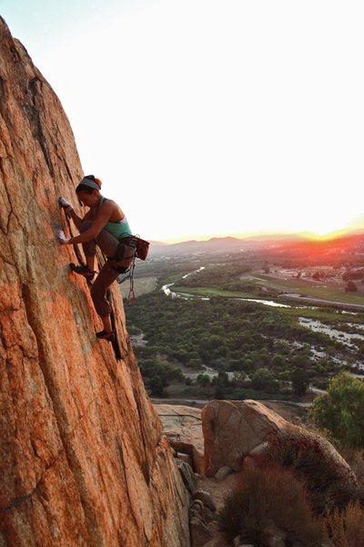 Rock Climbing Photo: Myself crack sunset climbing at Mt. Rubdioux