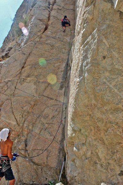 Myself climbing in the Upper Falls @ Frustration Creek.
