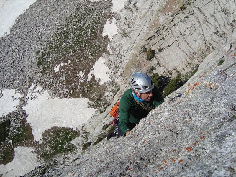 Jamie following P3 Lowe Route, Lone Peak Cirque