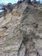 Rock Climbing Photo: A Cravita follows the black streaks up the blunt a...