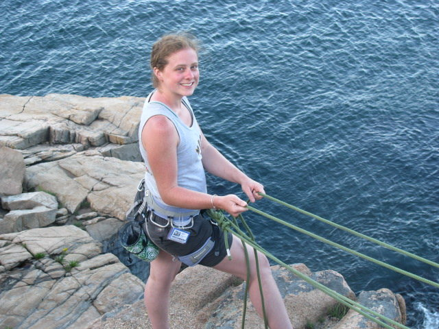Meggy belaying at Otter Cliff