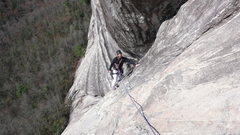 Rock Climbing Photo: Paul in the traverse to the anchors at the top of ...