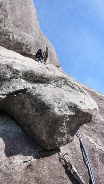 Rock Climbing Photo: Going right around the flake on the last pitch bef...