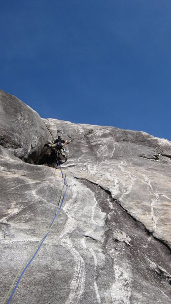 Crux moves above...all two of them. Super fun casual route. Paul Barnes' photo.