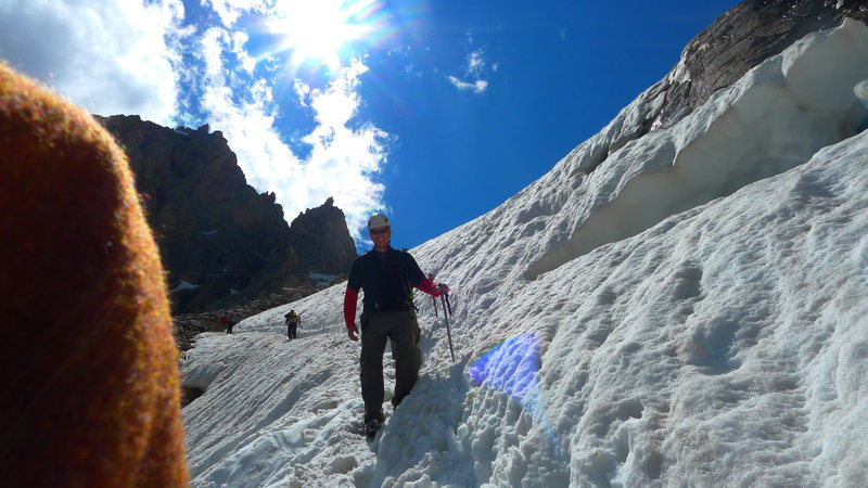 Rock Climbing Photo: winter route coming down from lower saddle.