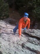 Rock Climbing Photo: Malcolm on the approach slabs to the Quartzite Rid...