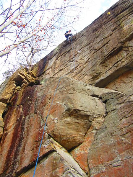 Rock Climbing Photo: Captain Mo, cleaning after the 1st Ascent.