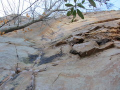 Rock Climbing Photo: Late afternoon shot of the route. Crux is high on ...