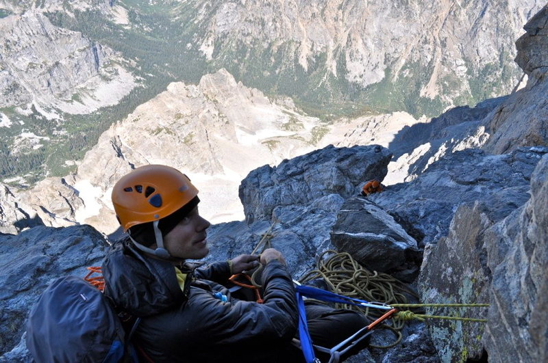 Rock Climbing Photo: Belaying on the Grand Teton