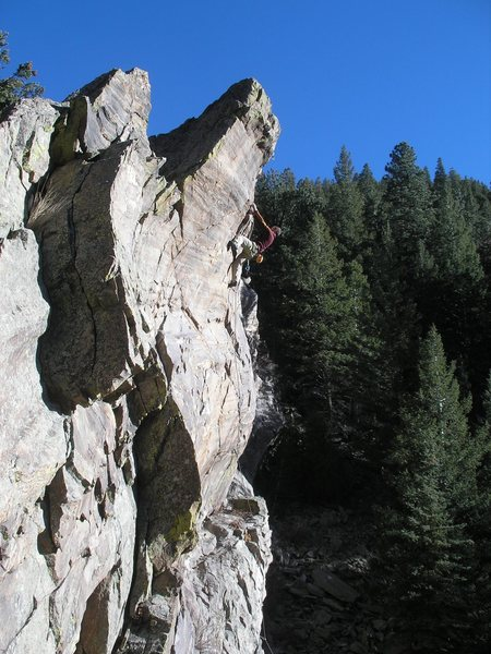 Rock Climbing Photo: Kevin getting into the upper business....