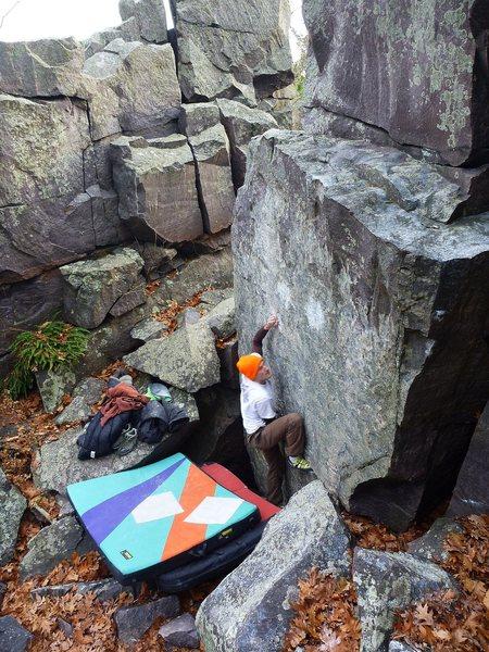 Rock Climbing Photo: Ian on FA, Nov 2011.