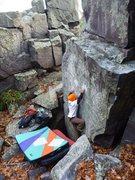 Rock Climbing Photo: Ian on FA, Nov 2011. Shot 3 of 4.