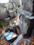Rock Climbing Photo: Stuck!  Ian sticking the throw on the FA.  Novembe...