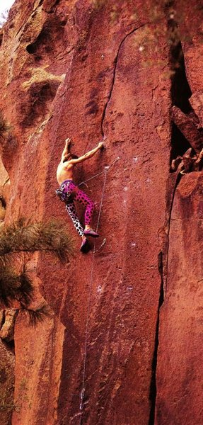 Doug Couleur on the FA of Kids in Toyland (5.11c), Cochiti Mesa. Photo by Lee Sheftel from Climbing @POUND@117 (December 1989/January 1990).