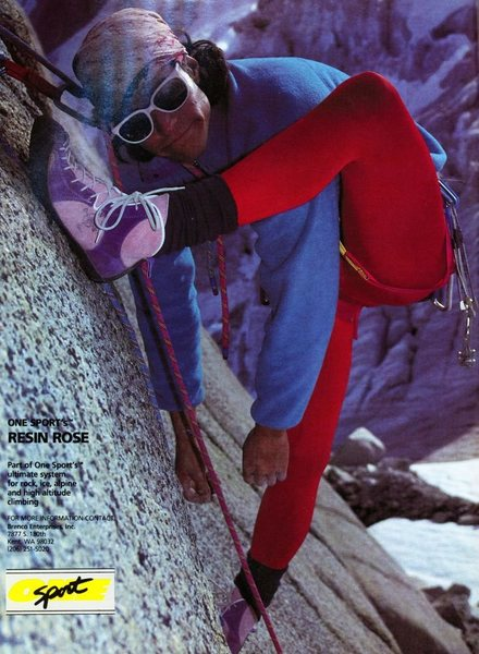 Resin Rose ad from Climbing #101 (April 1987).