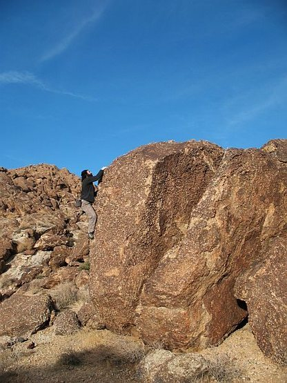 Bouldering on knobs near the Awesome Boulder, Joshua Tree NP