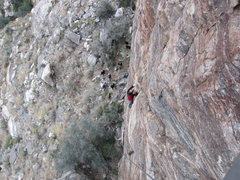 Rock Climbing Photo: View from the top, climber is about 40' up the cli...