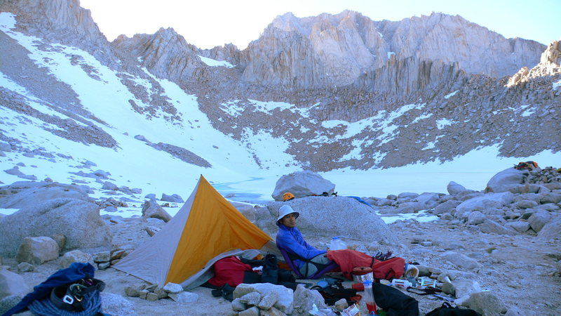 Whitney's East Face done.  Clean clothes, dinner,  a cold one.  Russell going down the next day.  Photo. Logan