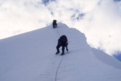 Rock Climbing Photo: First party up that day.  Pequeno Alpamayo, Bolivi...