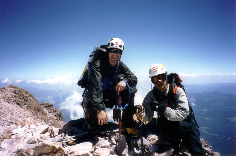Shasta summit via Winton-Hotlum Ridge.  I'm the brown guy.  photo. some dude