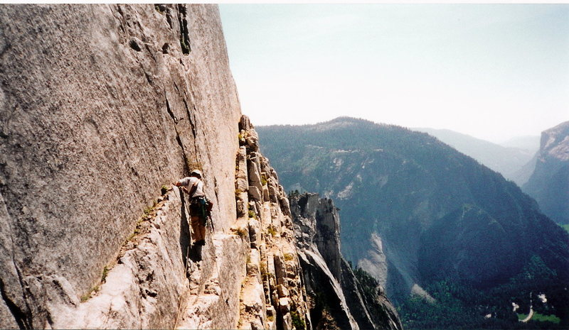 Todd making his way to the Robbins Traverse, Reg NW Route, Half Dome