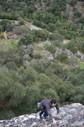 Rock Climbing Photo: Topping out, first time doing Juicifer without any...