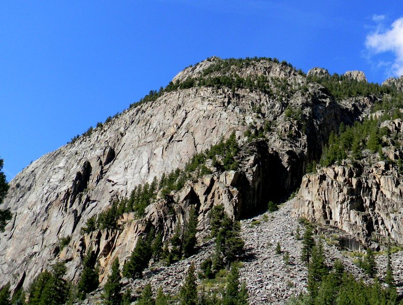 Ophir Wall and Cracked Canyon on the right in the shade.  The approach is straight up the scree.