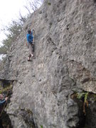 Rock Climbing Photo: Me making a BIG move on a 10ish TR variation betwe...