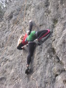 Rock Climbing Photo: Nicole avoiding the big move by using a crimp out ...