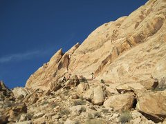 Rock Climbing Photo: View of the slab from the floor of the canyon.A) W...