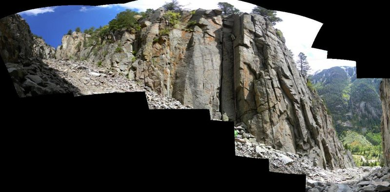 Oddball pano of a climber on Chewbacca - definitely hard to convey what the canyon is really like.