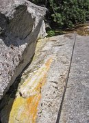 Rock Climbing Photo: Looking down the second pitch of Bowling to biscui...