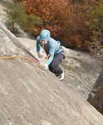 Rock Climbing Photo: Mary liebacking the last crack to get to the slope...