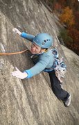 Rock Climbing Photo: Mary eking out the last few friction moves to fini...