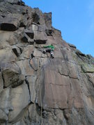 "Rock Climbing Photo: Heading into the crux of ""Silver Bullet""..."
