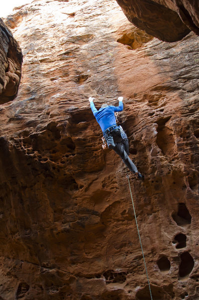 Just before the crux move