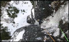 Rock Climbing Photo: Halfway up P1 of the Racing Stripe.