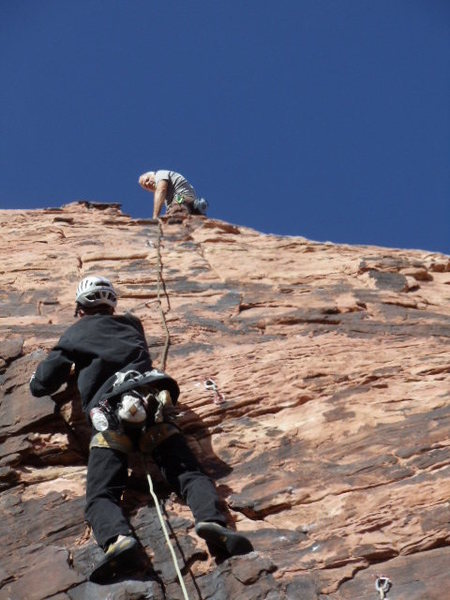 Wes following pitch 1 of Big Bad Wolf. Dick belaying at the 1st anchors.
