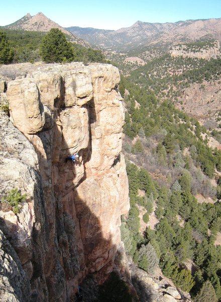 Pimp's Main Prophet, high above Four Mile Creek Canyon.