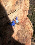 Rock Climbing Photo: The crux begins with a big move to exit the honeyc...