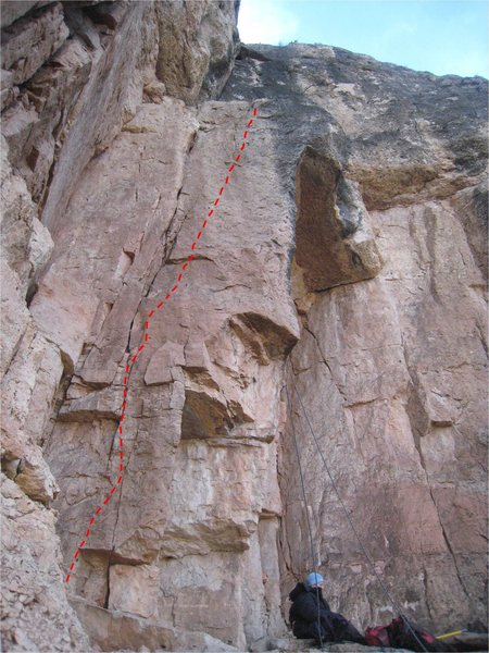 Rock Climbing Photo: Unknown #3 climbs the slab right of the splitter c...