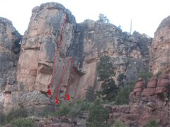 Rock Climbing Photo: Topo of the Cirque.  1. Unknown #2 (Gear Req'd). 2...