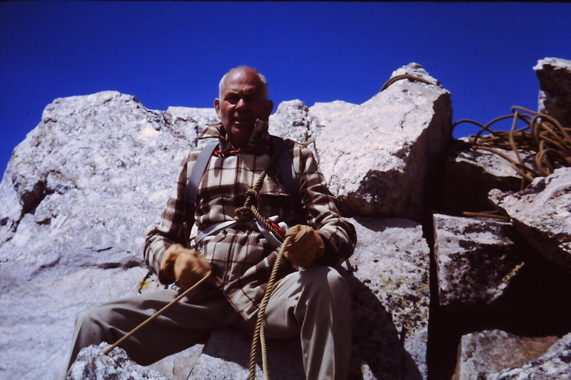 1969 Arnold Woodruff Miller (dad) - age 55.  Belaying on the Exum Ridge.  Between the ages of 55 and 65 he climbed most of the Teton Peaks.