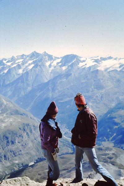1976 RKM and Leslie Miller.  Summit of Matterhorn - Zermatt in the background.  <br> <br> Summer in Europe<br> <br>