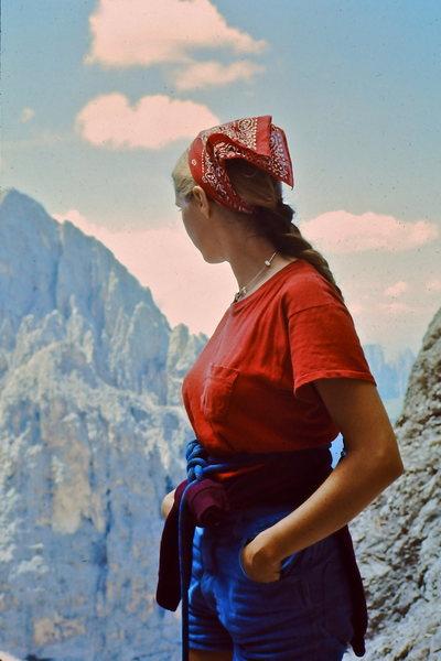 1976 Leslie Miller near the summit of Sassolungo (Langkofel). Dolomites<br> <br> Summer in Europe.
