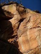 Rock Climbing Photo: John cleaning and checking placements 1st go, with...