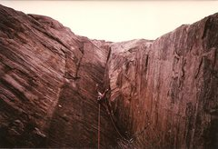 Rock Climbing Photo: Paul Cornia cruises the dihedral pitch...early 80s...