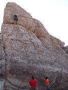 "Rock Climbing Photo: George climbing ""Snorkeling in the Rhyolite&q..."
