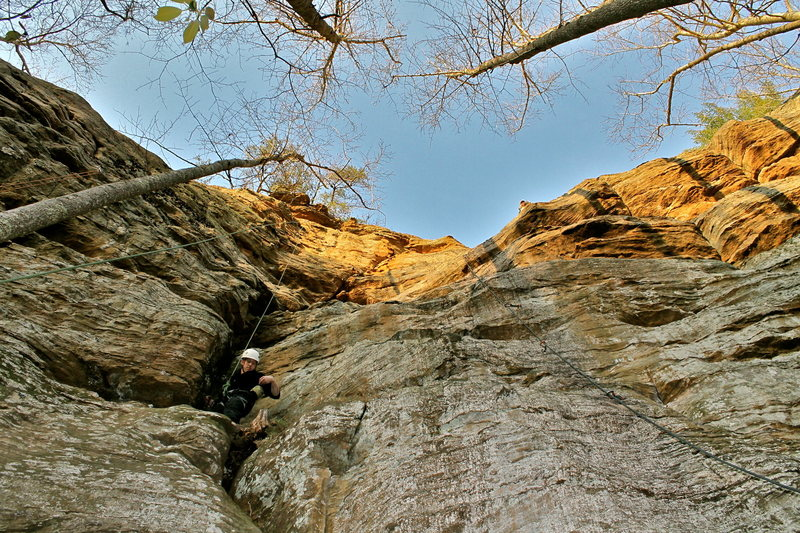 Rock Climbing Photo: Shane on Preemptive Strike. Boltergiest to the rig...